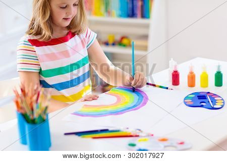 Kids Paint. Child Painting. Little Girl Drawing.