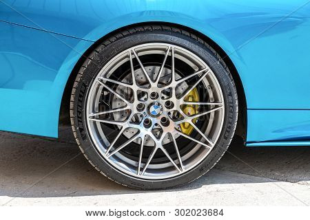 Samara, Russia - May 18, 2019: Close Up View Of Bmw Wheel With Michelin Tubeless Low Profile Tire