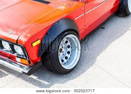 Samara, Russia - May 18, 2019: Modern Tuned Automotive Wheel On Metal Disc With Low Profile Tire
