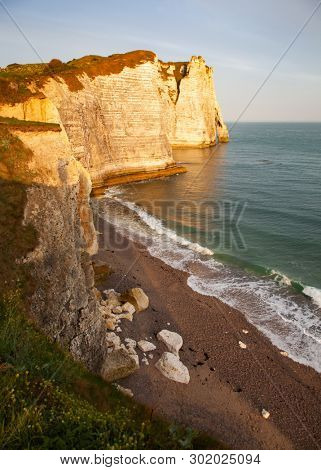 landscape on the cliffs of Etretat. Natural amazing cliffs. Etretat, Normandy, France
