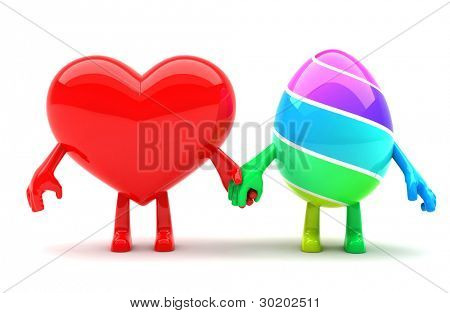 Hearth and Easter egg mascots holding hands and representing Easter spitrit of love