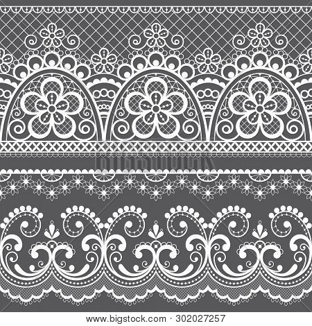 Decorative Vintage Lace Seamless Vector Pattern, Ornamental Repetitive Design With Flowers And Swirl