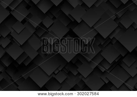 Abstract 3d Technology Dark Gray Background In Ultra High Definition Quality. Technological Crystall