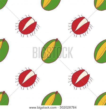 Fruit Mango And Rambutan Seamless Pattern, Great Design For Any Purposes. Hand Drawn Fabric Texture
