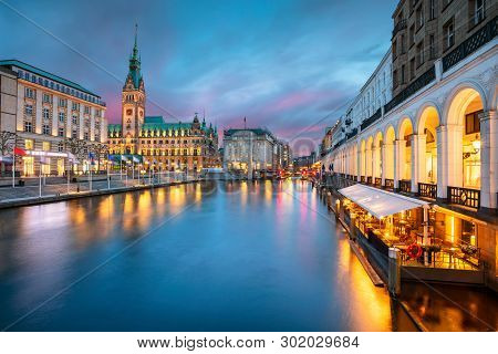 Hamburg, Germany. Cityscape Image Of Hamburg Downtown With City Hall During Sunset.