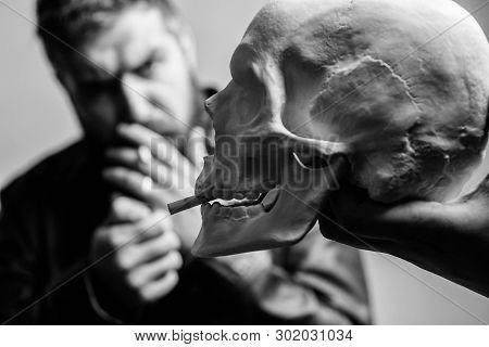 Harmful Habits. Smoking Cause Health Damage And Death. Destroy Your Health. Smoking Is Harmful. Habi