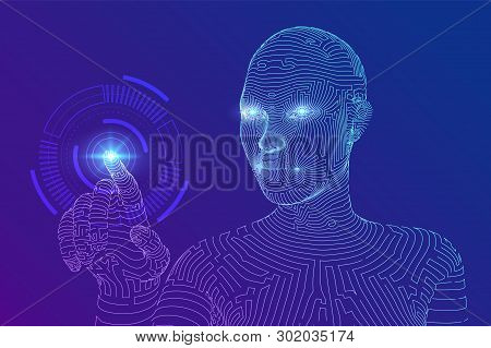 Wireframed Female Cyborg Touching Digital Graph Interface. Ai. Artificial Intelligence Concept. Robo
