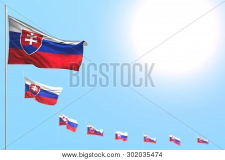 Pretty National Holiday Flag 3d Illustration  - Many Slovakia Flags Placed Diagonal With Soft Focus