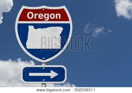 Road Trip To Oregon, Red, White And Blue Interstate Highway Road Sign With Word Oregon And Map Of Or