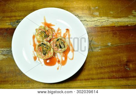 Thai Sweetmeat Grilled Mussel Coconut Cream Hotcake Called Kanom Krok On Plate