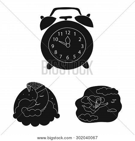 Isolated Object Of Dreams And Night Sign. Collection Of Dreams And Bedroom Stock Symbol For Web.