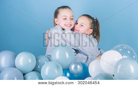 Balloon Theme Party. Girls Best Friends Near Air Balloons. Birthday Party. Happiness And Cheerful Mo