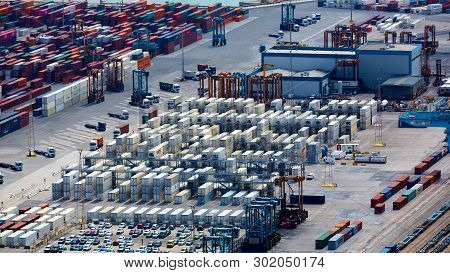 Barcelona, Spain - April 8, 2019: Industrial Port For Freight Transport And Global Business.