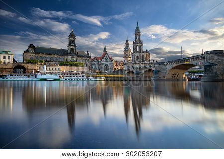 Dresden, Germany. Cityscape Image Of Dresden, Germany With Reflection Of The City In The Elbe River,