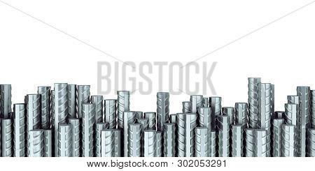 Reinforcement Steel Bar Steel Building Armature 3d Illustration On White