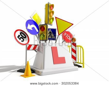 Concept Of Driver School Logo Road Signs Traffic Lights Fencing 3d Render On White