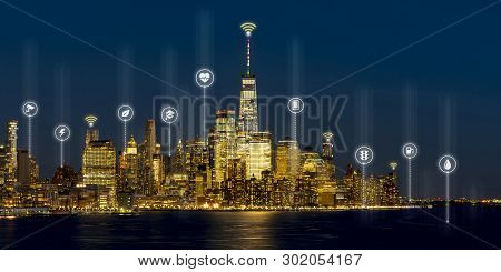 Beautiful Scenic Night View Of New York, Manhattan, Usa In Smart City Service Icon, Internet Of Thin