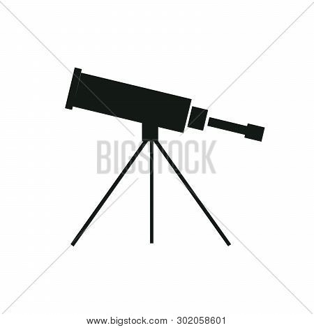 Vector Illustration Single Flat Black Telescope With Tripod Isolated On Background. Icon For Planeta