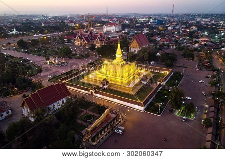 Pha That Luang, Great Stupa Is A Gold-covered Large Buddhist Stupa In The Centre Of Vientiane, Laos.