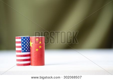 Usa Flag And China Flag For Tariff Trade War And Tech War Between United States And China Who Confli