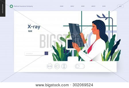 Medical Tests Template - X-ray Test - Modern Flat Vector Concept Digital Illustration Of X-ray Image