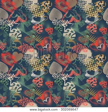 Abstract Grunge Sport Pattern Children For Girls And Boys. Creative Vector Sport Pattern With Dots,