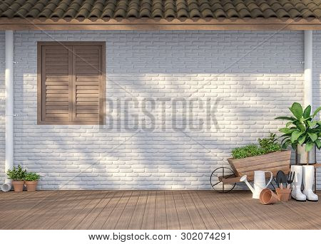 House Terrace With Garden Equipment 3d Render,there Are Empty White  Brick Wall, Wood Floor And Brow