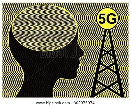 Health Risk Due To 5g Radiation. Woman Exposed To Radiofrequency Radiation From Cell Tower With Nega