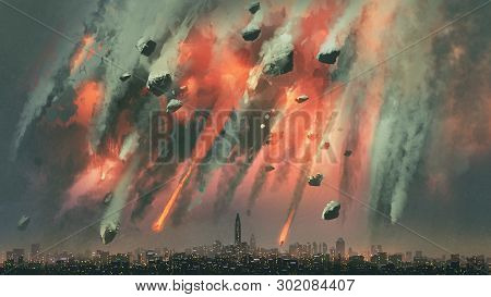 Sci-fi Scene Of The Meteorites Explodes In The Sky Above The City, Digital Art Style, Illustration P