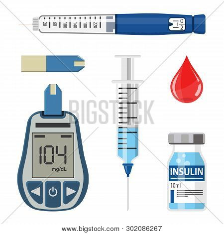 Control Your Diabetes Concept. Icons Set With Blood Glucose Meter, Insulin Pen Syringe. Isolated Vec