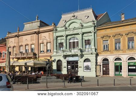 Novi Sad, Vojvodina, Serbia - November 11, 2018: Typical Buildings And Pedestrian Street At The Cent