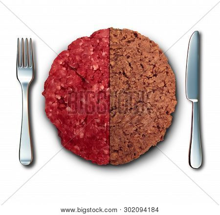 Vegan Burger And Meat As Plant Based Burger And Real Beef Hamburger Dinner Lifestyle Choice With 3d