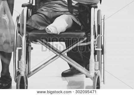 B&w Blurred Amputated Leg Old Man Cause By Diabetic On Wheelchair