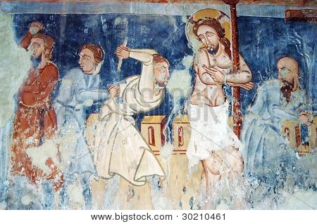 Ancient fresco, murals in Ghelinta (Gelence) church. Transylvania, Romania