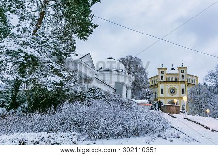 Marianske Lazne, Czech Republic - December 28 2017: Winter Scene Of Christian Church Of Assumption O