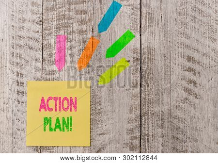 Conceptual Hand Writing Showing Action Plan. Business Photo Text Proposed Strategy Or Course Of Acti