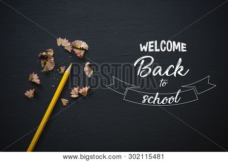 Education And Supplies For Banner Background On Blackboard Top View With Copy Space. Back To School