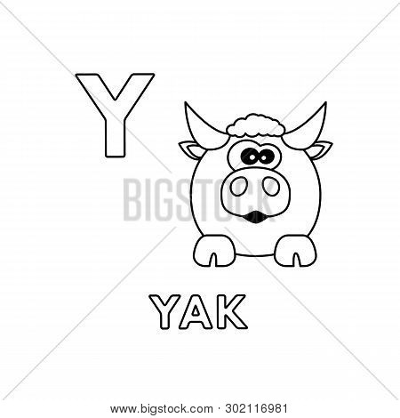 Alphabet With Cute Cartoon Animals Isolated On White Background. Coloring Pages For Children Educati