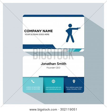 Shooting Player, Trainer Business Card Template Set, White Blue, Grey Font, Shadow, With Company Nam