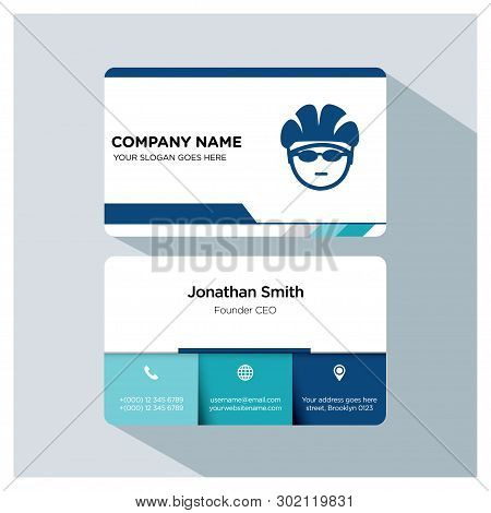 Biking, Cycling, Trainer Business Card Template Set, White Blue, Grey Font, Shadow, With Company Nam