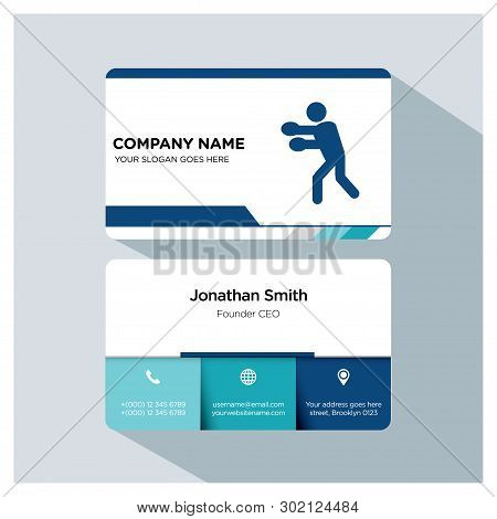 Boxing Player, Trainer Business Card Template Set, White Blue, Grey Font, Shadow, With Company Name,