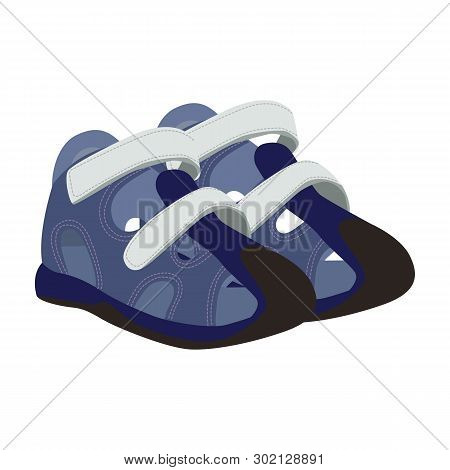 Baby Sport Shoes Vector Icon On A White Background. Baby Shoes On Clasp Illustration Isolated On Whi
