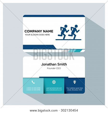 Running, Runner, Player, Trainer Business Card Template Set, White Blue, Grey Font, Shadow, With Com