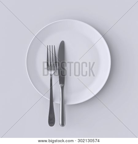 Blank White Plate With Fork And Knife, Top View Isolated, 3d Rendering Illustration. Clear Dish With