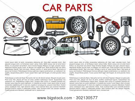 Car Repair Spare Parts And Auto Service Mechanic Tools. Vector Automobile Speedometer, Lug Wrench An