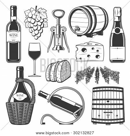 Wine Production, Winemaking And Wine Drinking Culture Icons. Vector Winery Wooden Barrel, Vintage Gr