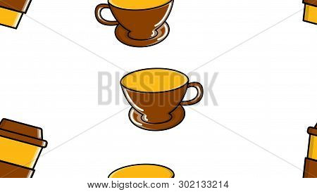 A Seamless Pattern Of Repeating Glasses And Ceramics Cups With A Quick Hot Invigorating Coffee Ameri