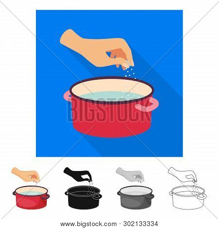 Vector Design Of Casserole And Water Sign. Collection Of Casserole And Arm Stock Symbol For Web.