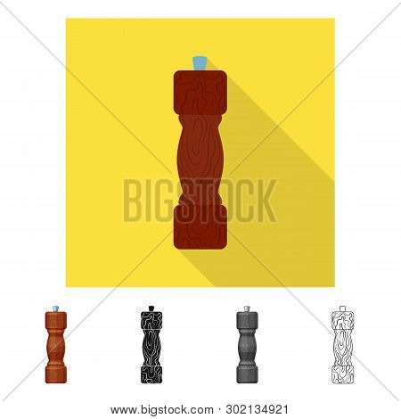 Vector Design Of Saltcellar  And Seasoning Sign. Set Of Saltcellar  And Wooden  Stock Symbol For Web