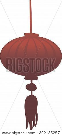 Red Chinese Paper Lantern In Vector Isolated.